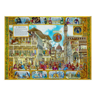 Florence Italy during Renaissance architecture art Poster