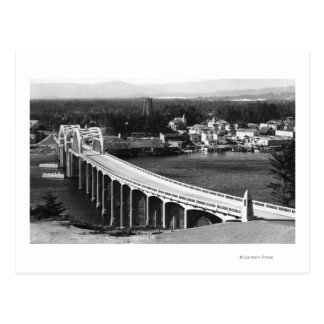 Florence, Oregon Town View and Siuslaw Bridge Postcard
