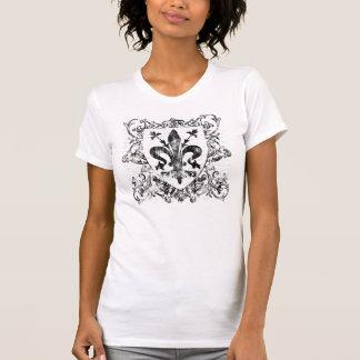 Silver Fleur De Lis Rhinestone Womens T Shirts