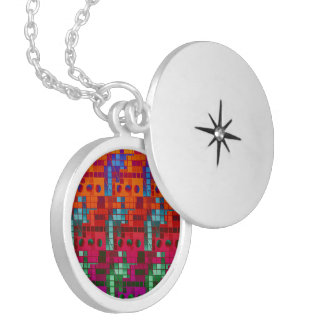 Florescent Abstract Cubes Locket