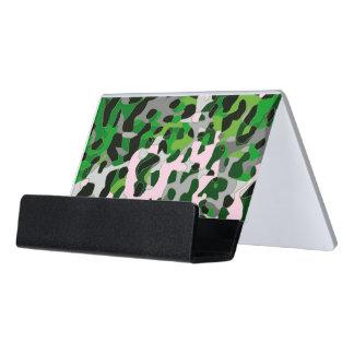 Florescent Green Grey Cheetah Abstract Desk Business Card Holder