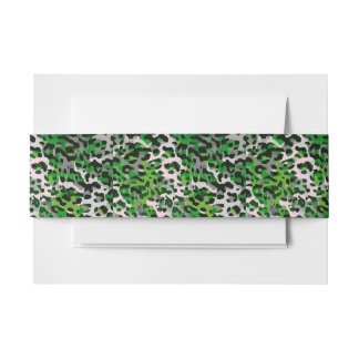 Florescent Green Grey Cheetah Abstract Invitation Belly Band