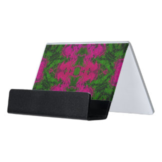 Florescent Green Pink Abstract Desk Business Card Holder