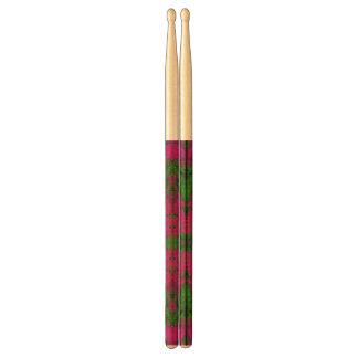 Florescent Green Pink Abstract Drum Sticks