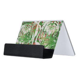 Florescent Green Red Tiger Desk Business Card Holder
