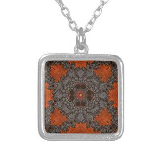 Florescent Orange and grey Fractal Kelidescopee Pendants