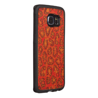 Florescent Orange Red Cheetah Abstract Wood Phone Case