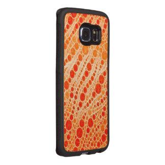 Florescent Orange Zebra Abstract Wood Phone Case