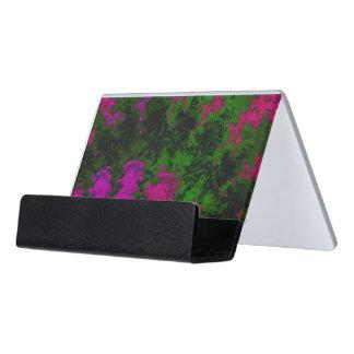 Florescent Pink Green Abstract Desk Business Card Holder