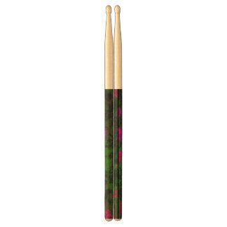 Florescent Pink Green Abstract Drumsticks