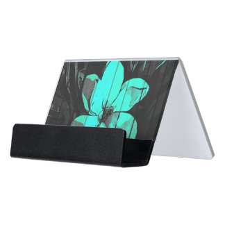 Florescent Turquoise Flowers Wood Desk Business Card Holder