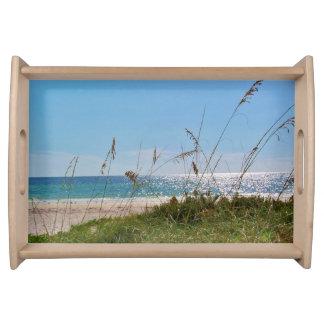 Florida beach sea oats surf and blue sky serving platter