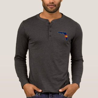 Florida Colorado flag mens henley thermal shirt