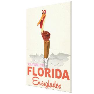 Florida everglades vintage travel poster canvas print