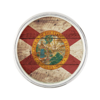 Florida State Flag on Old Wood Grain Lapel Pin