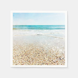 Florida Tropical Beach Sand Ocean Waves Sea Shells Disposable Napkins