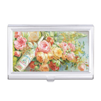 Florida Water Perfume with Cabbage Roses Business Card Holder