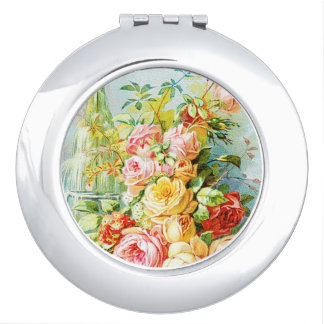 Florida Water Perfume with Cabbage Roses Compact Mirror
