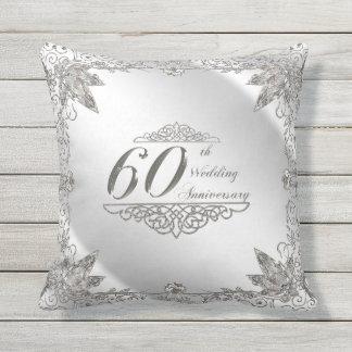 Flourish 60th Diamond Anniversary Throw Pillow