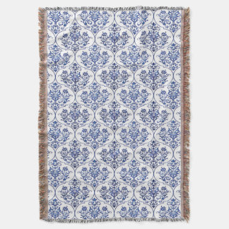 Flourish Damask Pattern - blue Throw Blanket