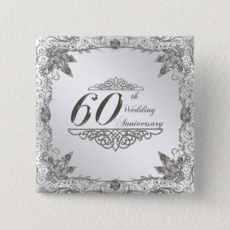Flourish Diamond 60th Wedding Anniversary Button