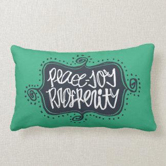 Flourish Frame hand lettered Peace Joy Prosperity Lumbar Pillow