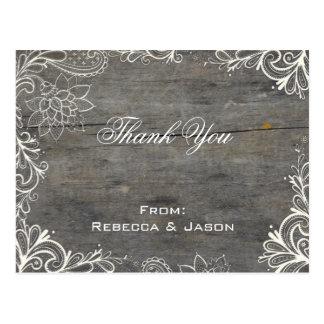 flourish  lace wood country wedding thank you postcard