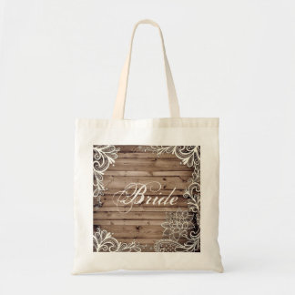 flourish swirls lace barn wood country bride tote bag
