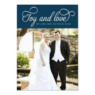 Flourished Joy & Love Newlywed Holiday Photo Card 13 Cm X 18 Cm Invitation Card