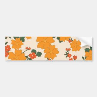[FLOW-005] Retro orange flowers Bumper Sticker