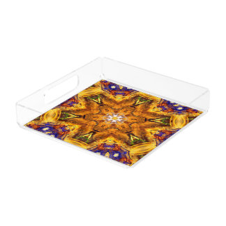 flower abstract design pattern yoga blue gold zen acrylic tray
