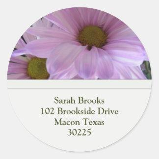 Flower Address Label Round Sticker