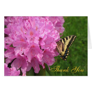 Flower and Butterfly Thank You Note Card