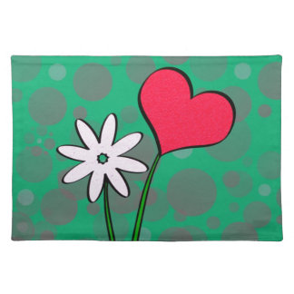 Flower and heart placemat