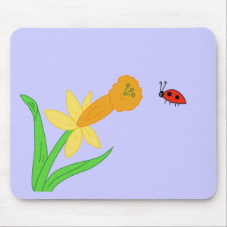 Flower and Lady Bug Mousepad