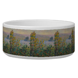 Flower Beds at Vetheuil by Claude Monet Pet Food Bowls