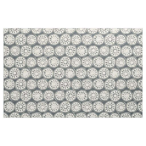 flower block ivory pewter fabric