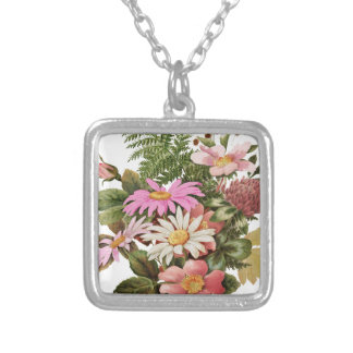 flower bouquet silver plated necklace