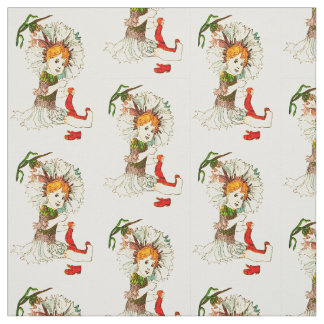 FLOWER CHILD BACHELOR BUTTON FLORAL FAIRY PATTERN FABRIC