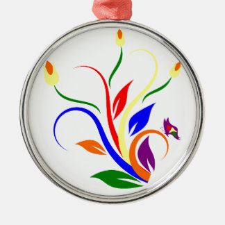 flower Colorful Art Silver-Colored Round Decoration