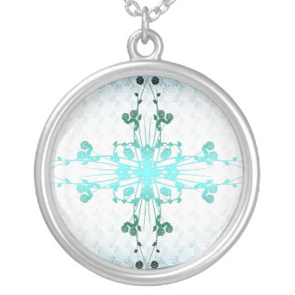 Flower Cross Silver Plated Necklace