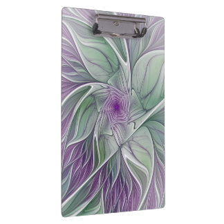 Flower Dream, Abstract Purple Green Fractal Art Clipboard