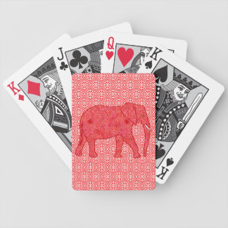 Flower elephant - deep red and coral bicycle playing cards