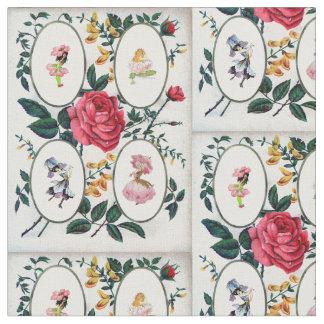 Flower fairy frame vintage design fabric
