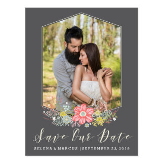 Flower Frame Photo Save the Date Card Postcard