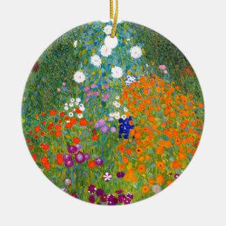 Flower Garden by Gustav Klimt Vintage Floral Christmas Ornaments