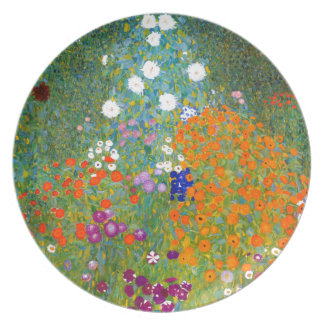 Flower Garden by Gustav Klimt Vintage Floral Dinner Plates