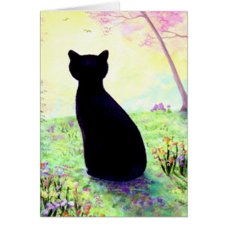 Flower Garden Floral Black Cat Creationarts Card