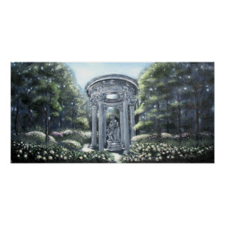 Flower Garden with Statues Print
