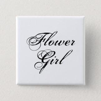 Flower Girl Black & White Button